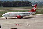 """TEA - Trans European Airways Switzerland Boeing 737-3Q8 HB-IIF """"Spirit of Sabine"""" (23768334421).jpg"""