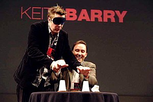 Keith Barry - A blindfolded Barry performs during a TED Talk in 2004