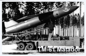 MGM-1 Matador - A Matador missile on its launcher near Hahn Air Base, West Germany.
