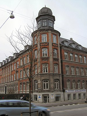 "H. C. Ørsteds Vej - Symbolist poet Johannes Jørgensen's ""tower"", at the corner with Kastanievej, for which his periodical Taarnet (""The Tower"") was named"