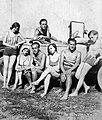 Tableau, men, women, bathing suit, automobile, summer, free time Fortepan 12102.jpg