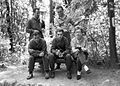 Tableau, woods, sweater, smoking, cigarette, portable radio Fortepan 18861.jpg