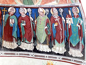 Erhard of Regensburg - Mural of St. Erhard (second figure from left) and other saints.