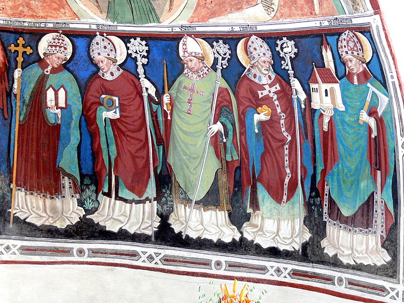 Freske av St Erhard (nr to f.v.) og andre helgener
