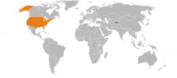 Map indicating locations of Tajikistan and USA