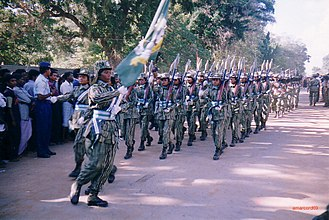 Liberation Tigers of Tamil Eelam - LTTE women's wing marching in a parade.