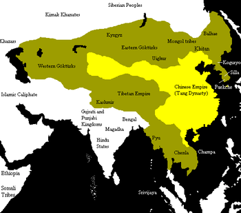 Tang dynasty c. 669. Map of China during the Tang Dynasty. In yellow are the territories of China and the area of vassals and allies are in dark yellow.
