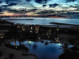 Economy of Morocco - A view of Tangier Bay at sunset as seen from the Malabata suburb.
