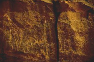 Prehistoric North Africa - Carvings of fauna common in the Sahara during the wet phase, found at Tassili in the central Sahara