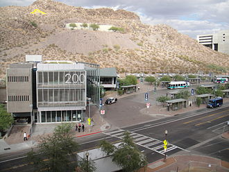 Veterans Way/College Avenue station - Overall view of the Tempe Transportation Center from the roof of the city hall parking garage.