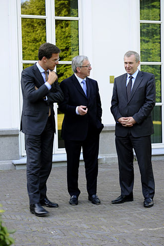 Benelux - Prime Ministers Mark Rutte (Netherlands), Jean-Claude Juncker (Luxembourg) and Yves Leterme (Belgium) in The Hague on 24 May 2011