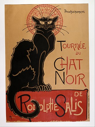 "Le Chat Noir - Théophile Steinlen's 1896 poster advertising a tour to other cities (""coming soon"") of the Le Chat Noir's troupe of cabaret entertainers"