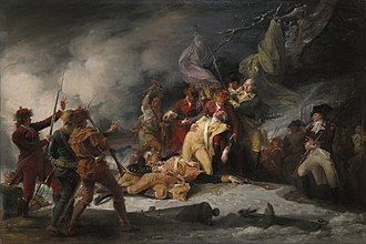 Canada–United States relations - The Death of General Montgomery in the Attack on Quebec, December 31, 1775, by John Trumbull, depicting the failed American Invasion of Quebec (1775).