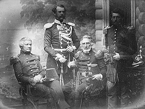 Richard Delafield - The Delafield Commission in Russia (possibly St. Petersburg). Left to right: Alfred Mordecai, Lt. Colonel Obrescoff (Russian escort), Richard Delafield, and George B. McClellan