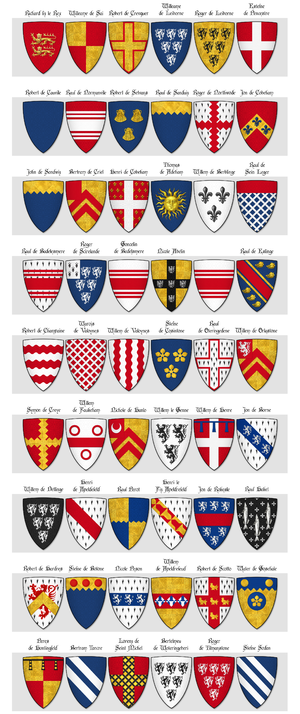 Dering Roll - Image: The Dering Roll of Arms Panel 1 1 to 54