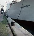 The German MV Lindenstein on the Scheldt quayside from Antwerp - 1968.png