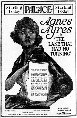 The Lane That Had No Turning - Newspaper advertisement