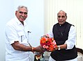 The Minister of State for Consumer Affairs, Food and Public Distribution, Shri C.R. Chaudhary calling on the Union Home Minister, Shri Rajnath Singh, in New Delhi on July 07, 2016.jpg