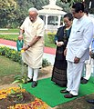 The Prime Minister, Shri Narendra Modi planting a sapling at Odisha Raj Bhavan, in Bhubaneswar on February 07, 2016. The Governor of Odisha, Shri S.C. Jamir and his wife are also seen.jpg