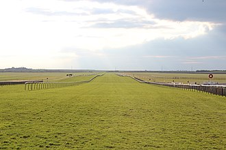 Newmarket Racecourse - The Rowley Mile track used for the 2000 Guineas in Newmarket, UK