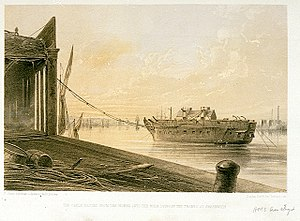 HMS Amethyst (1844) - The cable passed from the works into the Amethyst's hulk lying in the Thames at Greenwich