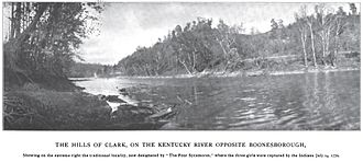 Capture and rescue of Jemima Boone - A photograph of the traditional site, designated by the four sycamores on the right shore, of the capture of Jemima Boone and the Callaway girls