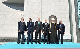Suleyman Kerimov - Kerimov, Mahmoud Abbas, Vladimir Putin and Recep Tayyip Erdoğan opened Moscow's Cathedral Mosque, 23 September 2015.