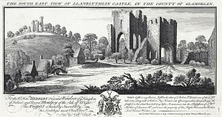 The south east view of Llanblythian castle, in the county of Glamorgan