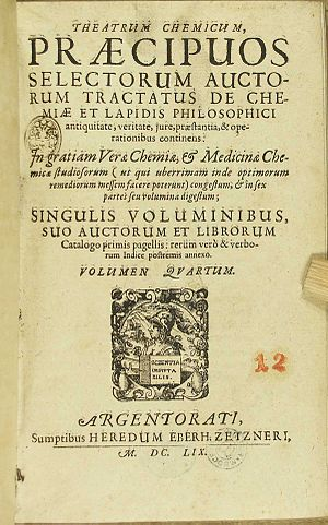 Theatrum Chemicum - Page One of Theatrum Chemicum Volume IV.  Published 1613, Strasbourg by Lazarus Zetzner.