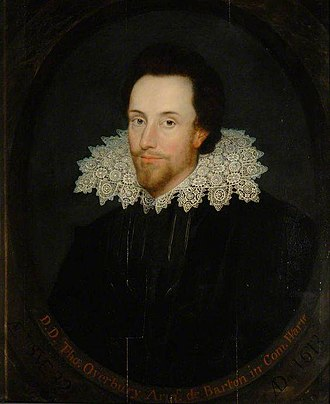 Cobbe portrait - This portrait of Sir Thomas Overbury, bequeathed to the Bodleian Library in 1740, has been suggested as the source of the smaller Cobbe or Janssen portraits.