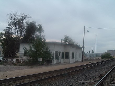 The former Thompson station was last used in 1997 and was demolished in early 2016, October 2006 photograph. Thompson Springs.jpg
