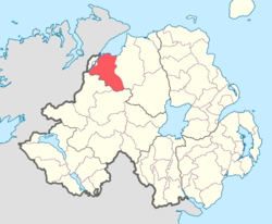 Location of Tirkeeran, County Londonderry, Northern Ireland.