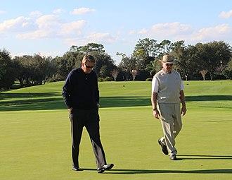 Tom Fazio - Tom Fazio (right) walks the grounds of Lake Nona Golf & Country Club with Director of Golf, Gregor Jamieson