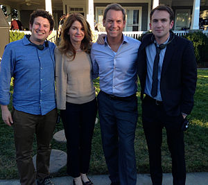 Tom Hillmann - Hillmann (second from right) on the set of Paper Towns