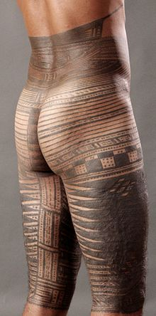 A pe'a is a traditional male tattoo in Samoa. Samoan tattooing was practiced continuously despite attempts at suppression during 1830s. Traditional Samoan Tattoo - back.jpg