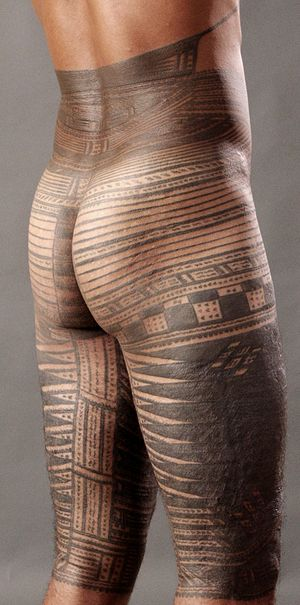 Samoan culture - Pe'a, traditional male tattoo.