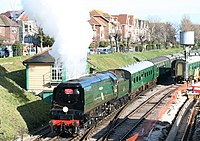 Train departing from Swanage - geograph.org.uk - 1706923.jpg