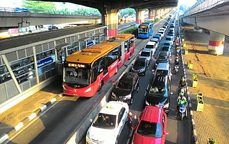 Bus rapid transit - TransJakarta buses use separate lanes to avoid congested roads.