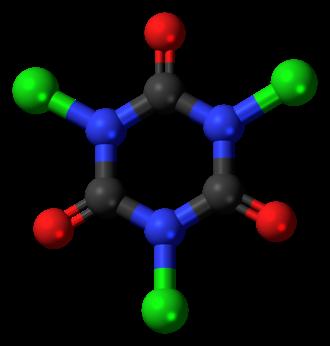 Trichloroisocyanuric acid - Image: Trichloroisocyanuric acid 3D balls