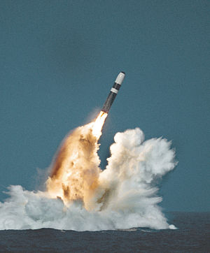 Trident (missile) - A Trident II missile fires its first stage after an underwater launch from a Royal Navy ''Vanguard'' class ballistic missile submarine.