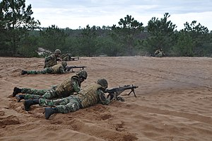 Portuguese Marine Corps - Marines machine gun teams in position after an airmobile assault in 2015.