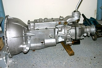 Overdrive (mechanics) - The same gearbox with electro-hydraulic operated overdrive. (note the extra gear housing being built instead of the thin tail end.)