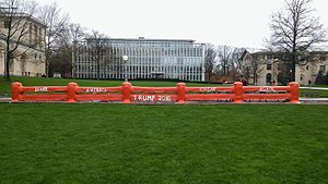 Carnegie Mellon University traditions - The Fence, with President Trump's campaign slogan