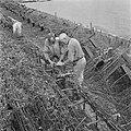 Twee arbeiders bezig met rijswerk, Bestanddeelnr 900-5298.jpg
