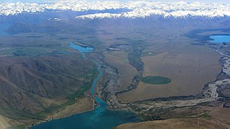 Twizel - Twizel (centre distance) from the air, alongside Lake Ruataniwha. Lake Benmore is seen in the foreground.