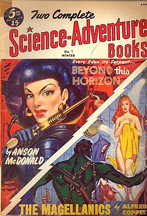 "Beyond This Horizon - Beyond This Horizon was reprinted in Two Complete Science-Adventure Books in 1952, appearing under the ""Anson McDonald"" byline even though the book edition had been published under Heinlein's own name four years earlier"