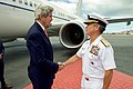 U.S. Navy Admiral Harris Greets Secretary Kerry Upon His Arrival at Joint Base Pearl Harbor-Hickam in Hawaii (27215330461).jpg