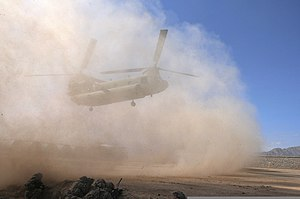 Brownout (aeronautics) - Downwash from a CH-47 Chinook kicks up a dust cloud resulting in brownout