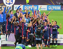 314d12fdd Olympique Lyonnais Féminin - Celebration of the UEFA Women s Champions  League in 2018.