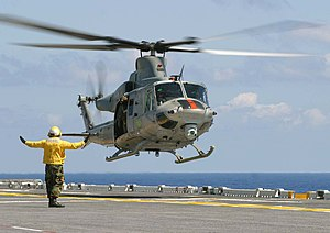 H-1 upgrade program - UH-1Y landing on an amphibious assault ship